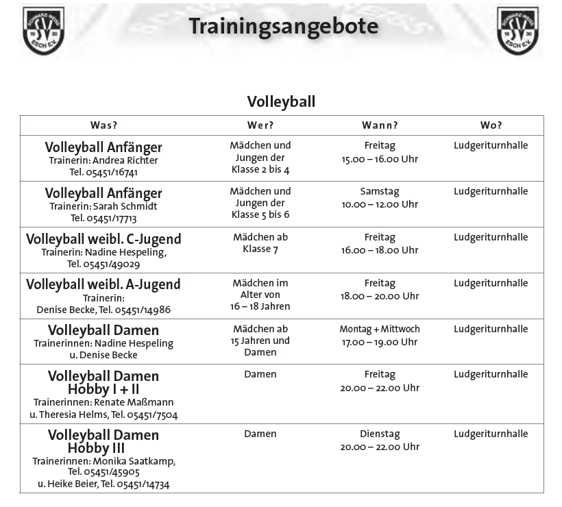 TrainingTermineVolleyball